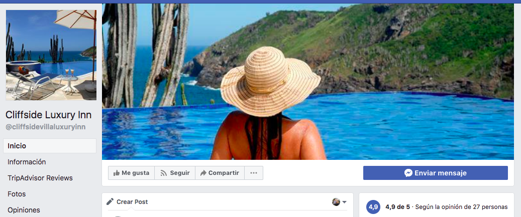 Un resort de lujo en Facebook