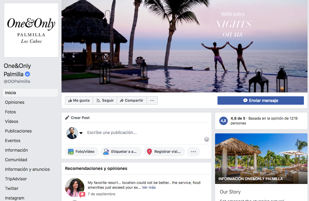 Tu resort en Facebook