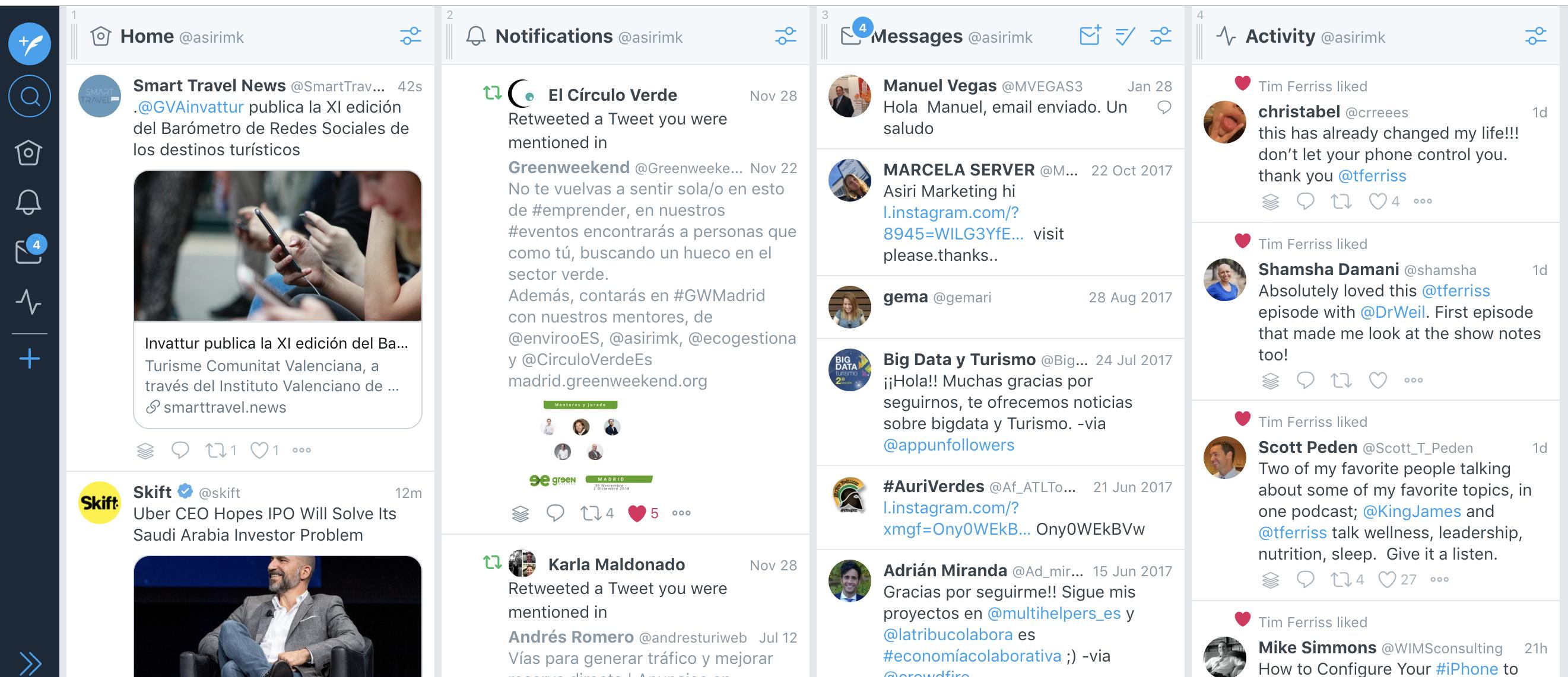 Tweetdeck para gestionar el twitter de tu alojamiento