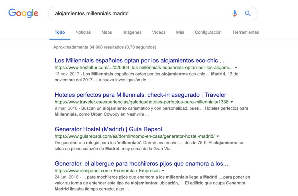 resultado de búsqueda para analizar el posicionamiento en google