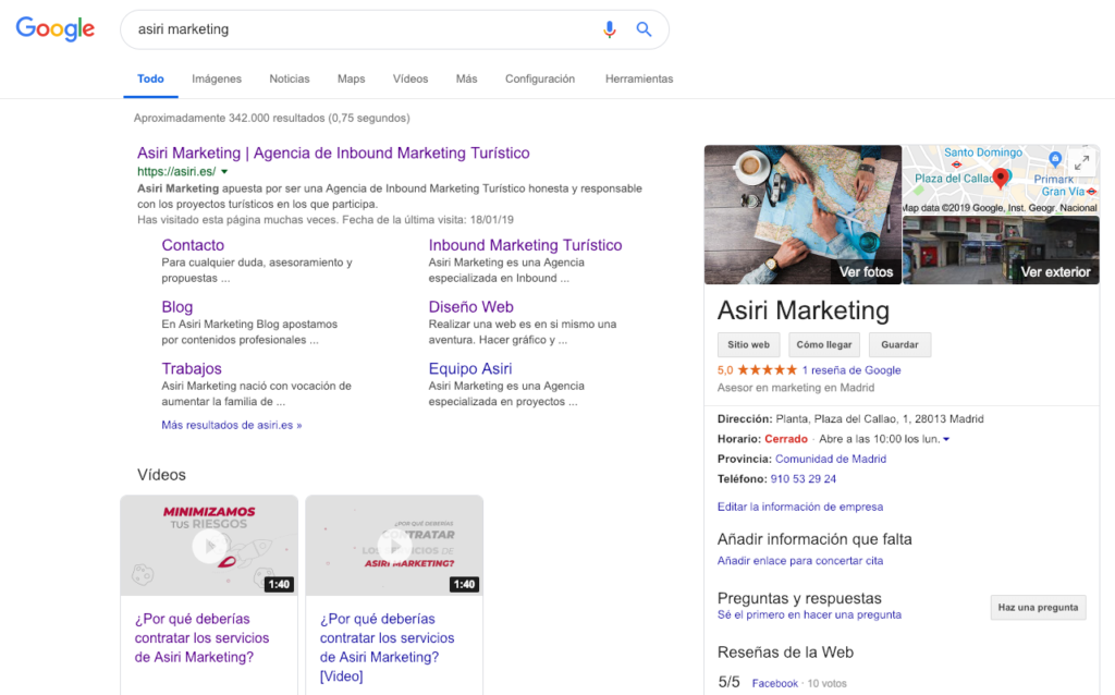 Posicionamiento de Asiri Marketing en Google