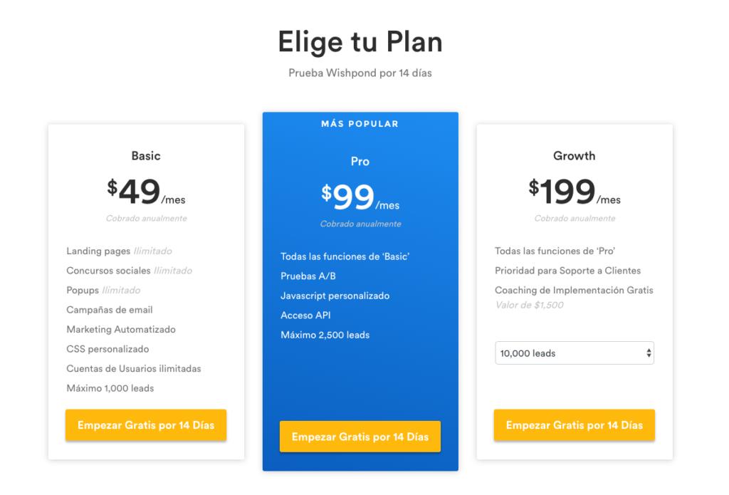 Listado de Precios de la herramienta de precios Wishpond