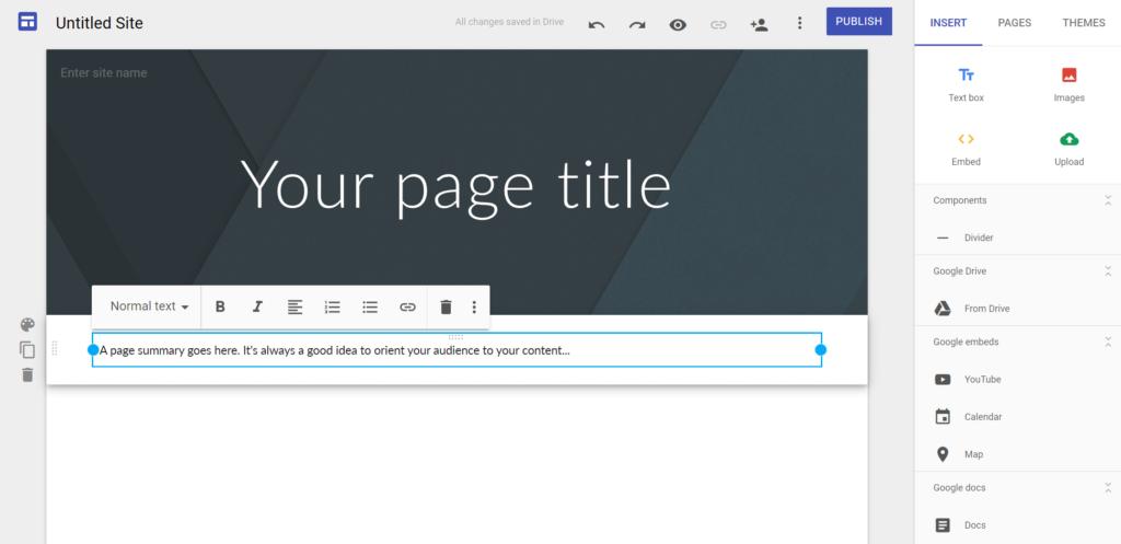 Crea una web gratis con Google Sites
