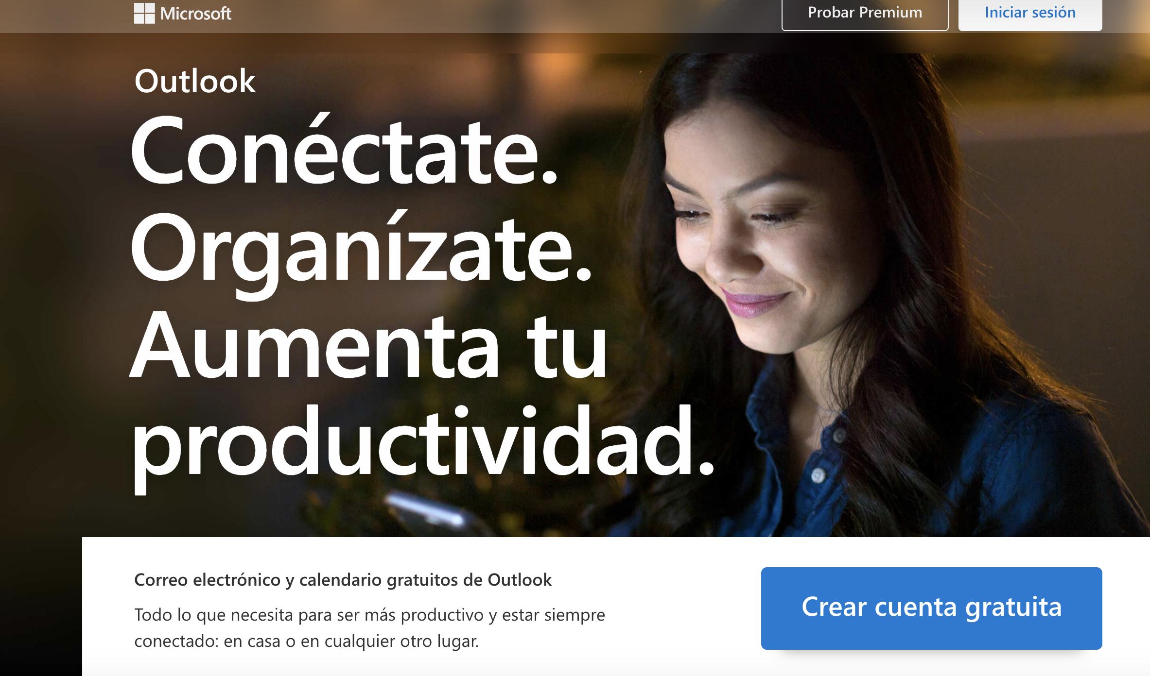 Outlook como mejor landing page sin distracciones