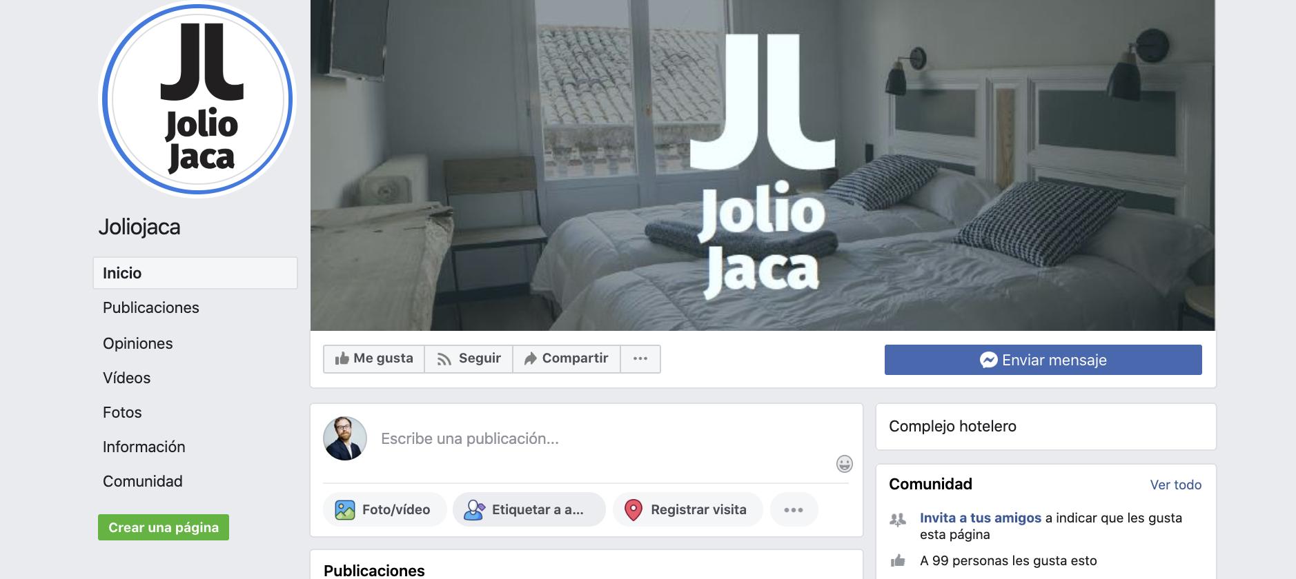 Páginas de Facebook para alojamientos