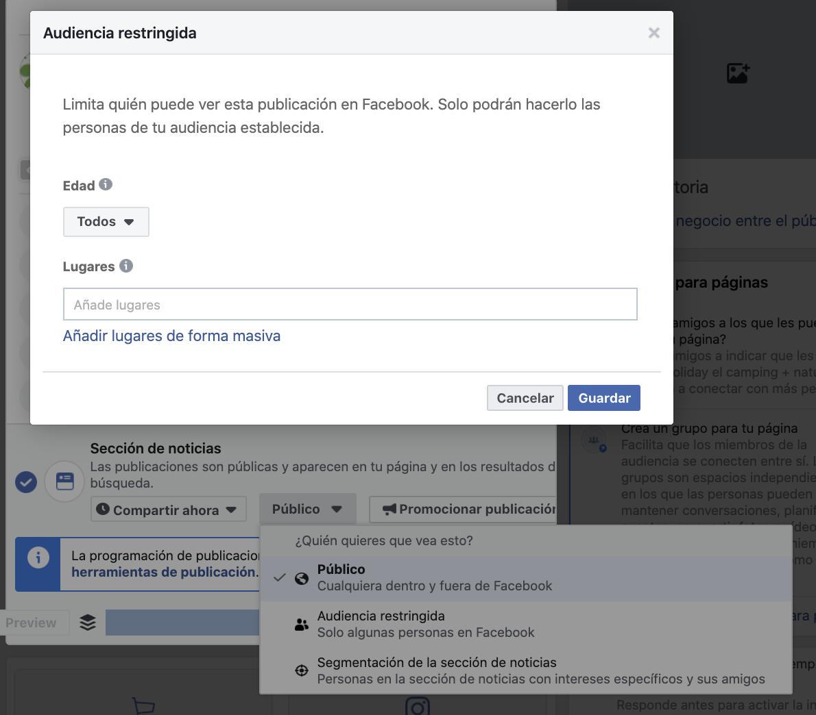 adaptar las publicaciones de Facebook