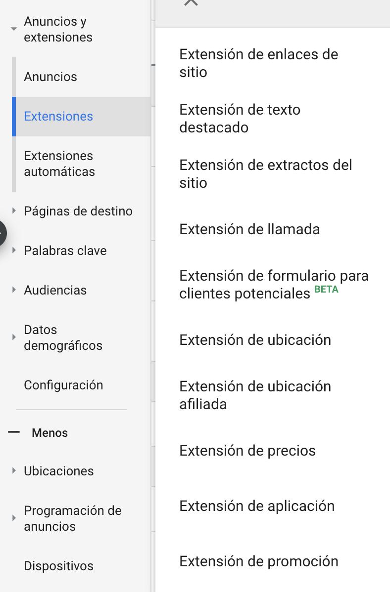 Extensiones de Anuncio en Google Ads