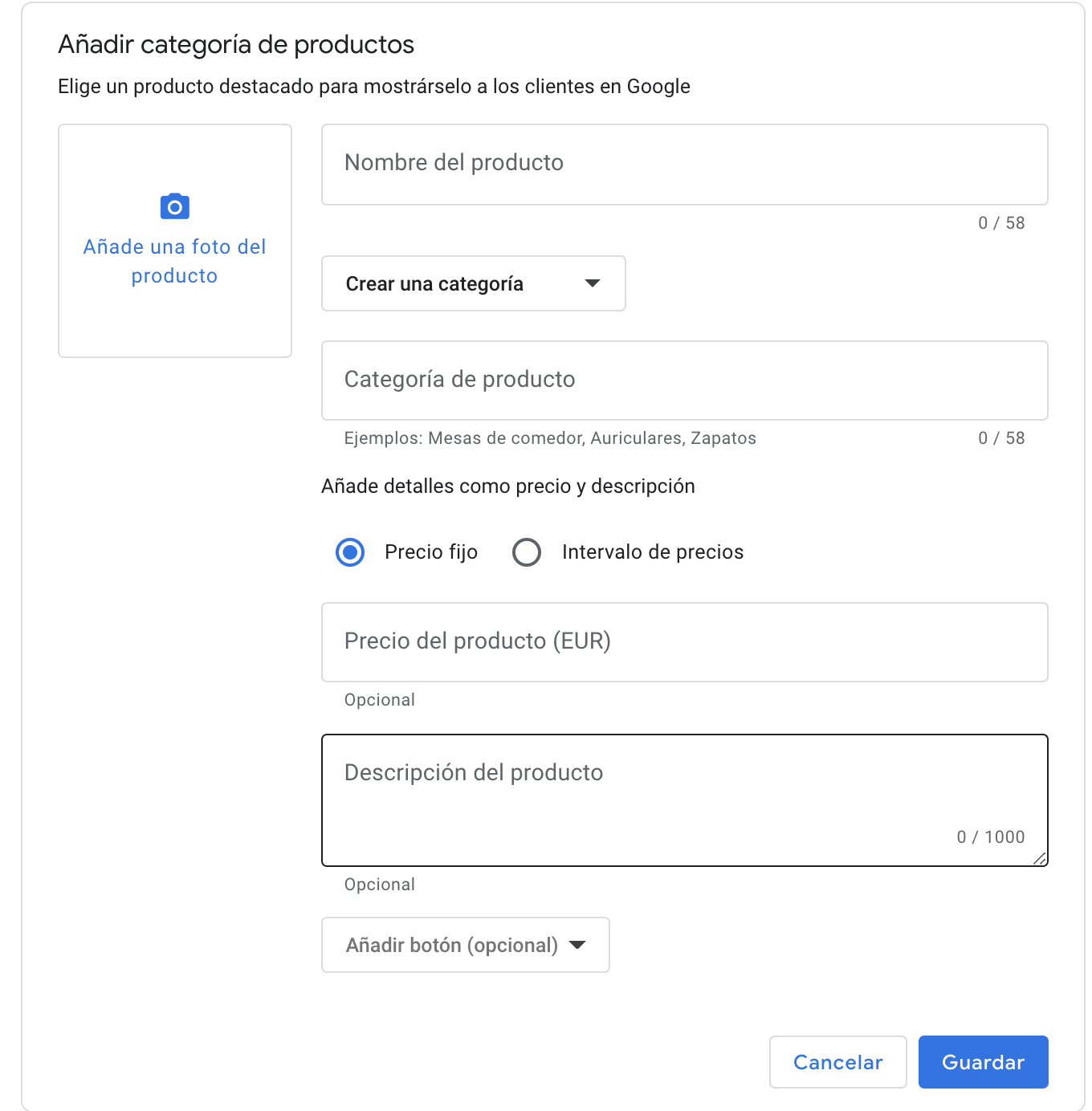 Subida productos en Google My Business